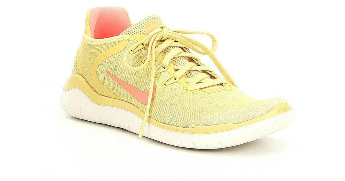 a4d65e3622b51 ... sale lyst nike womens free rn 2018 summer running shoes in yellow 4958f  63303