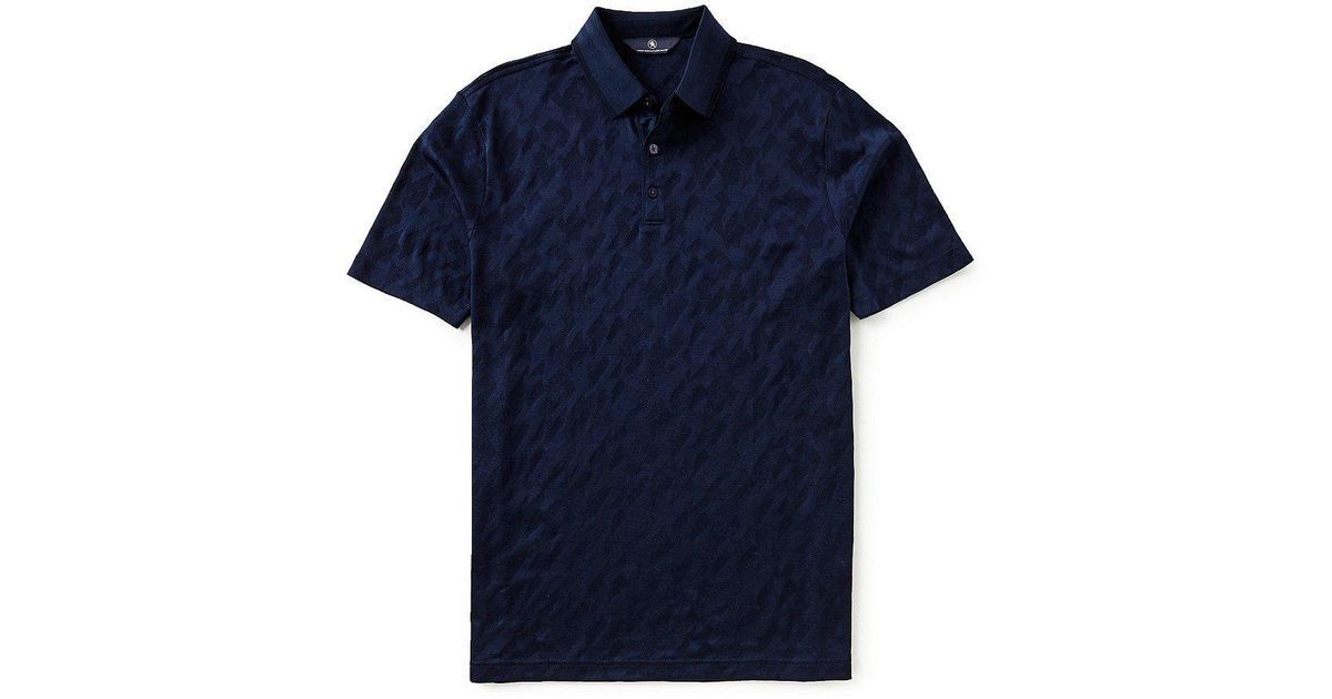 39bf5c02 Lyst - Hart Schaffner Marx Short-sleeve Rib Jacquard Polo in Blue for Men