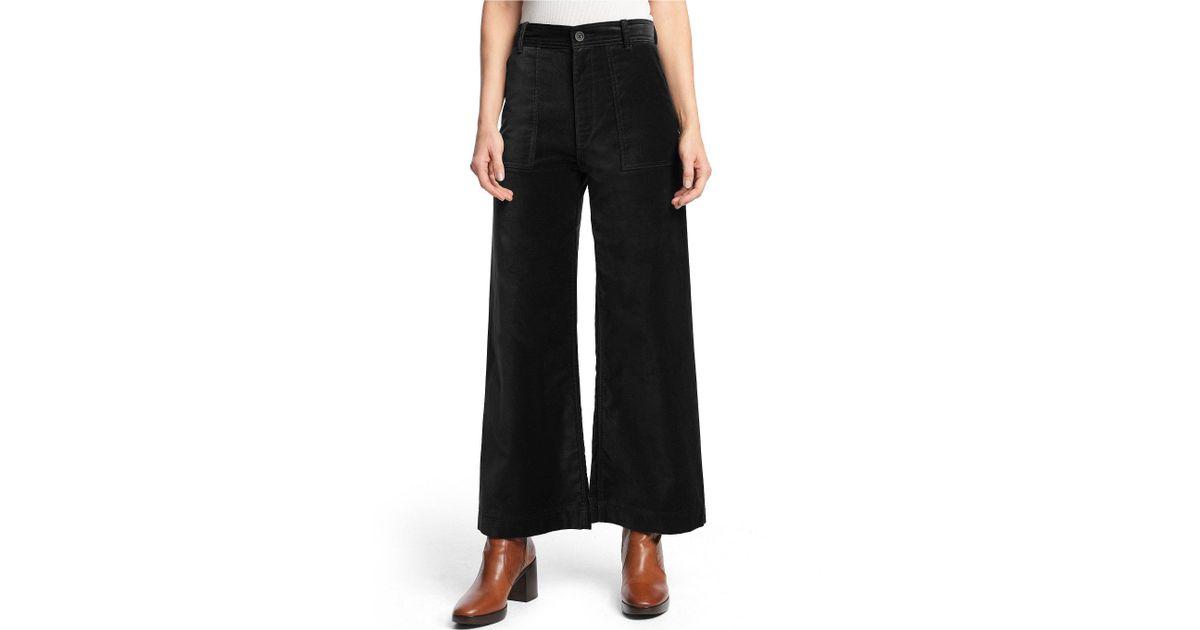 26cced22abd7 Lyst - Frye Nadia Velvet High Rise Ankle Length Wide Leg Pant in Black