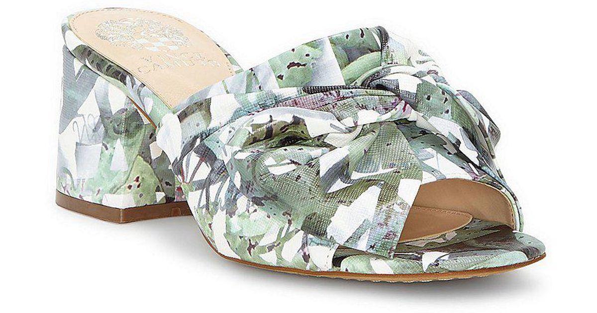 Vince Camuto Sharrey Floral Print Bow Detail Block Heel Dress Mules iq6SJ