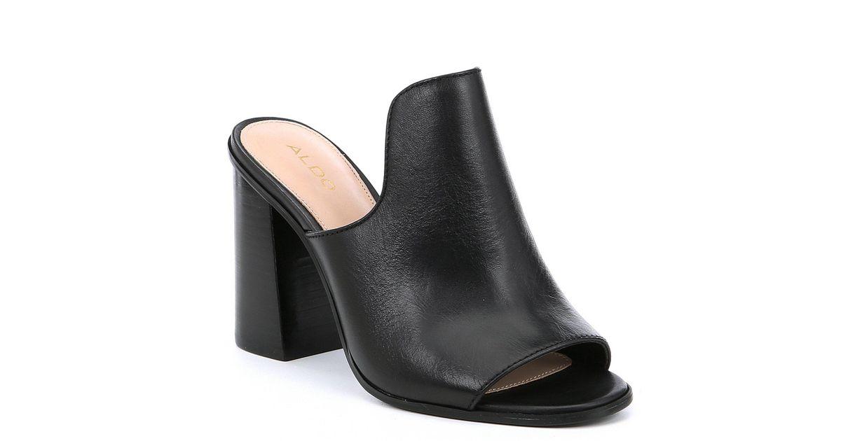 46092dbb6830d ALDO Legossa Leather Block Heel Peep-toe Mules in Black - Lyst
