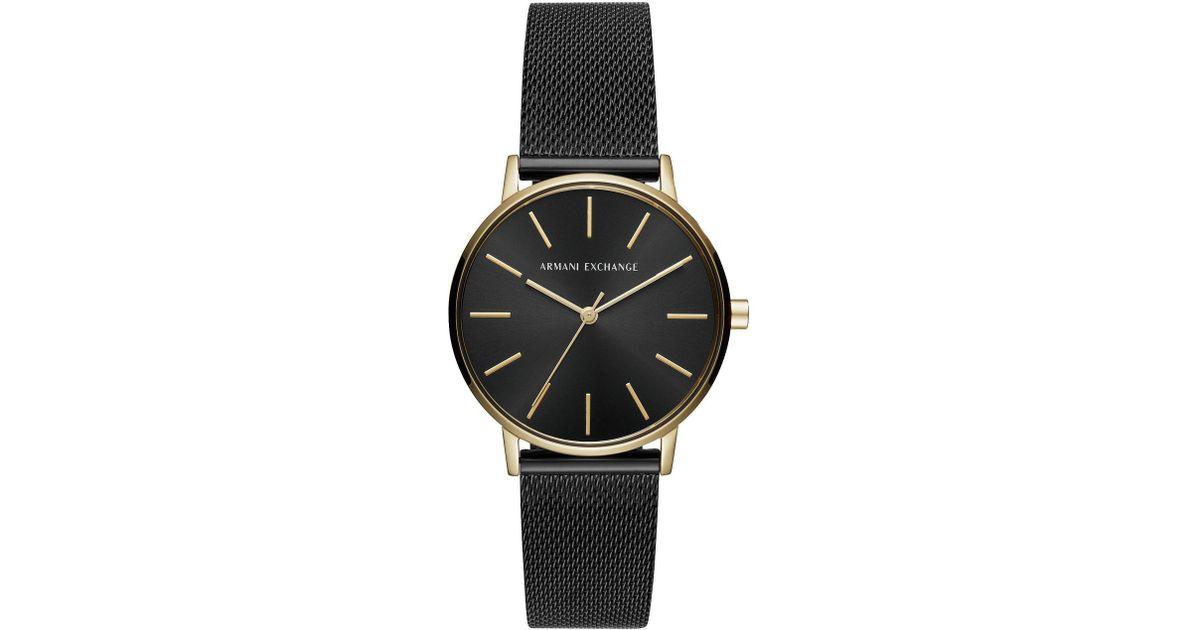 d062d0ec7ff1 Lyst - Armani Exchange Ladies Mesh Watch in Black