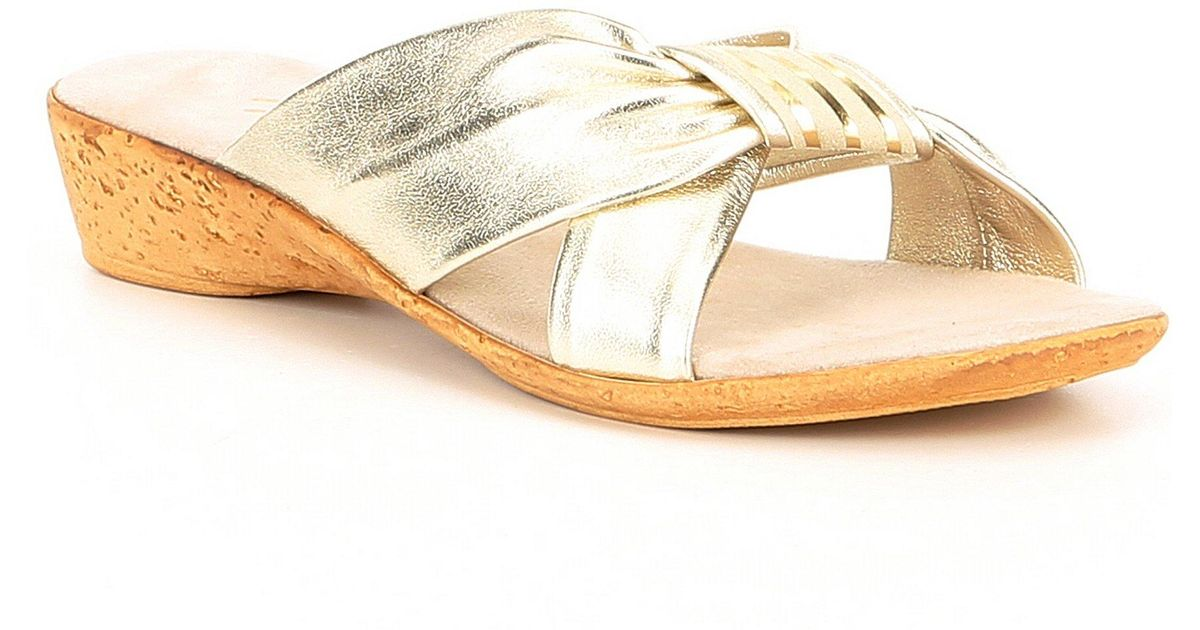 3a61438527f Lyst - Onex Oasis Leather Cross-band Slide Wedge Sandals