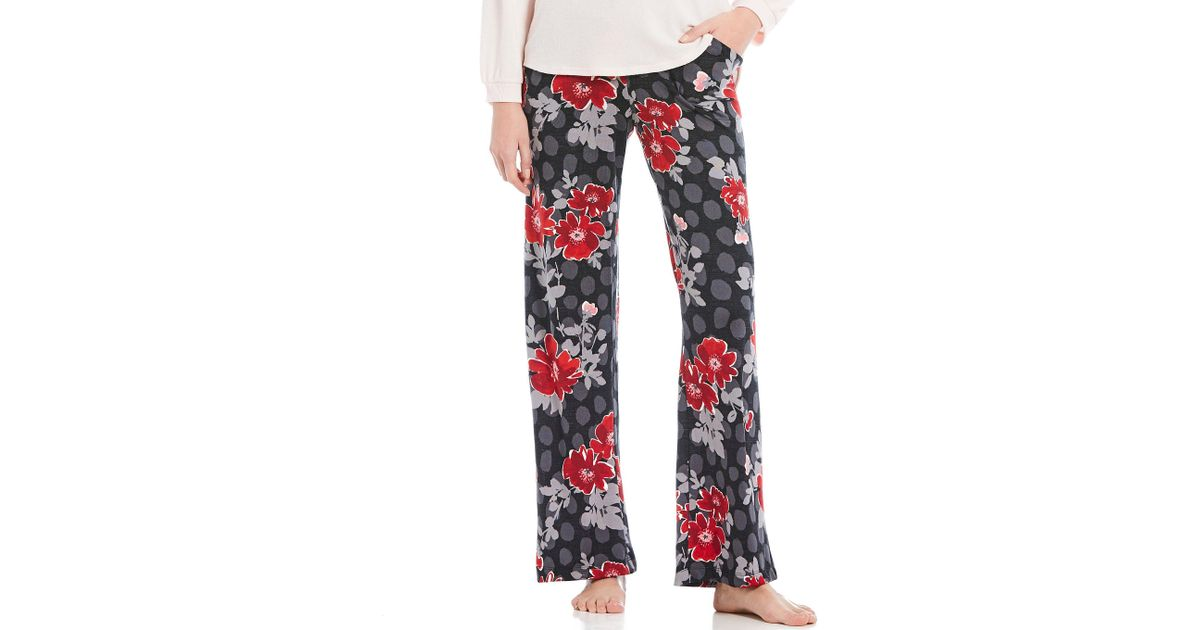 c05e813dce Lyst - Hue Tique Cherry Floral Print Jersey Sleep Pants in Red