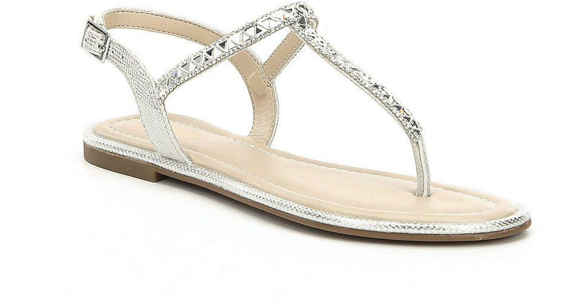 Lyst Sandals In Aldo Sheeny Metallic Embellished Thong P8nkw0O