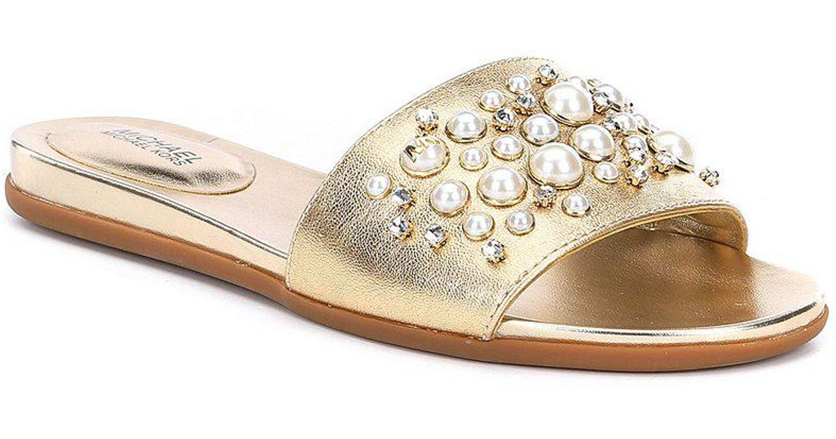 22d4ad17726a Lyst - MICHAEL Michael Kors Gia Pearl And Stud Slide Sandals in Black