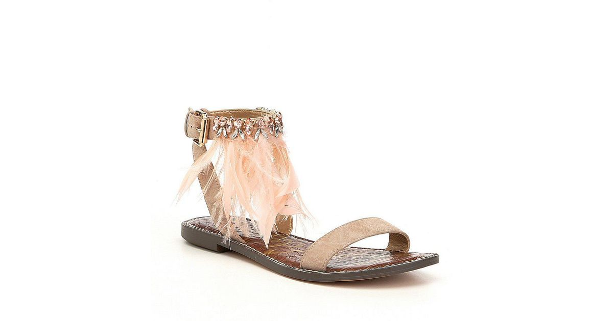 899a813fd Lyst - Sam Edelman Genevia Suede Jewel Faux Feather Sandals