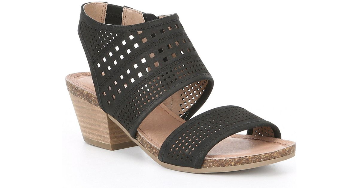 bb934d328d3 Lyst - Me Too Adam Tucker By Kacee Nubuck Perforated Block Heel Sandals in  Black