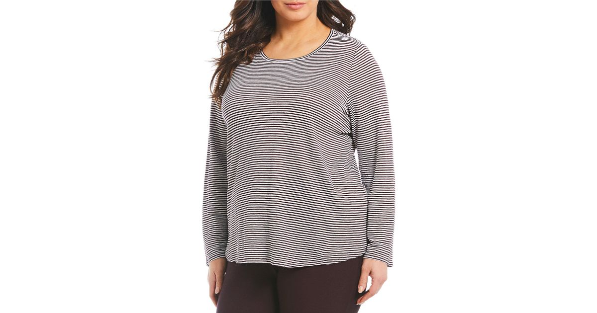 30606db81 Lyst - Eileen Fisher Plus Size Striped Long Sleeve Tee in Gray