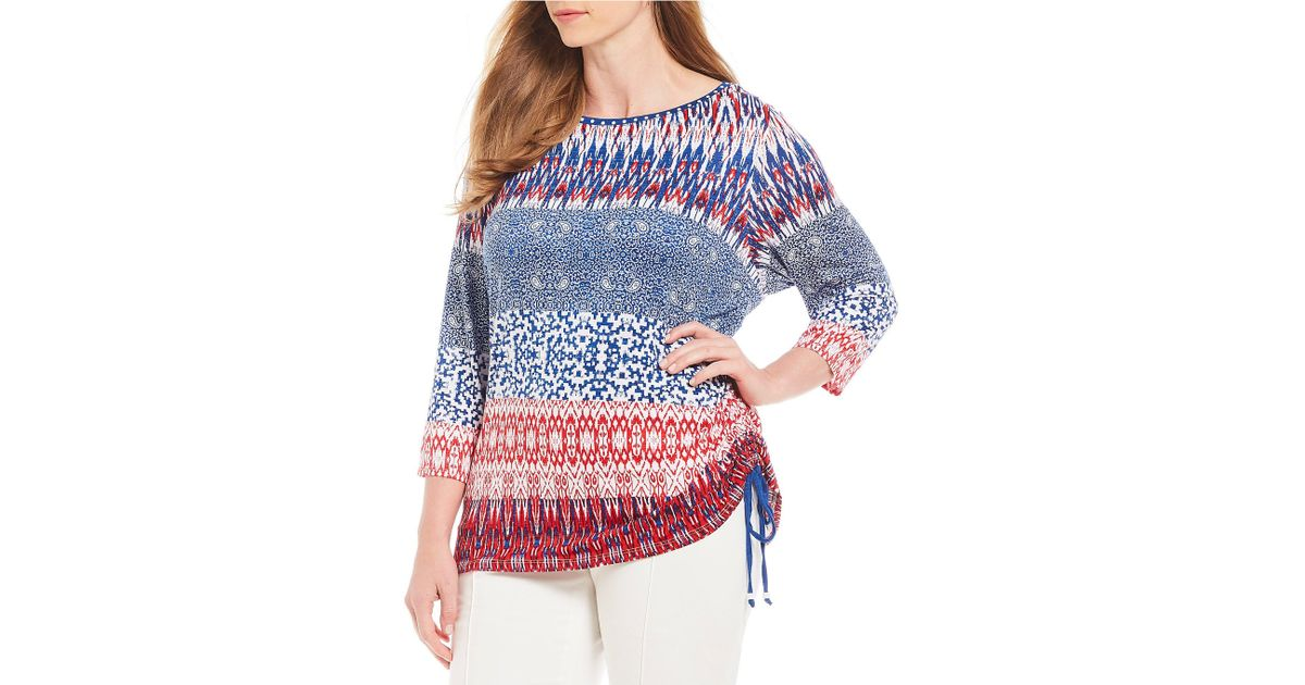 f18a39c8b16 Lyst - Ruby Rd. Plus Size Embellished Boat-neck Side Ruching Patched Stripe  Border Print Knit Top