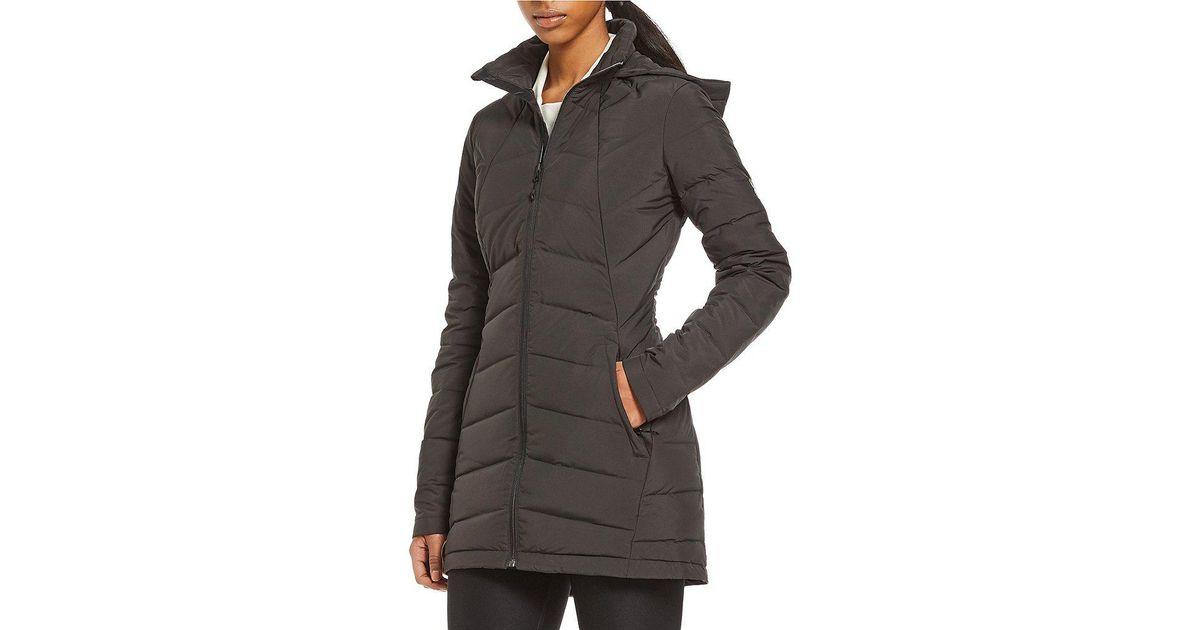 80130ffaa Spyder Syrround Long Down Hooded Coat in Black - Lyst