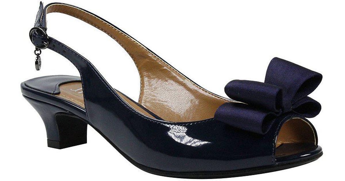 Landan Patent Leather Bow Detail Slingback Dress Pumps dumgp