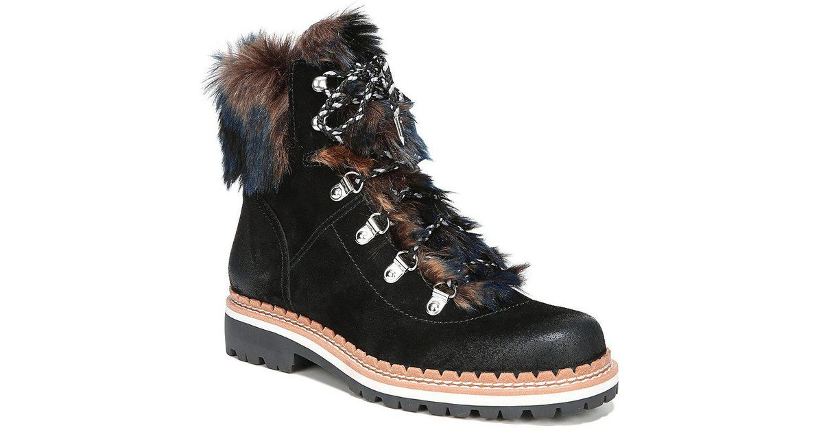 8b743311ef0de9 Lyst - Sam Edelman Bronte Suede Faux Fur Hiker Booties in Black
