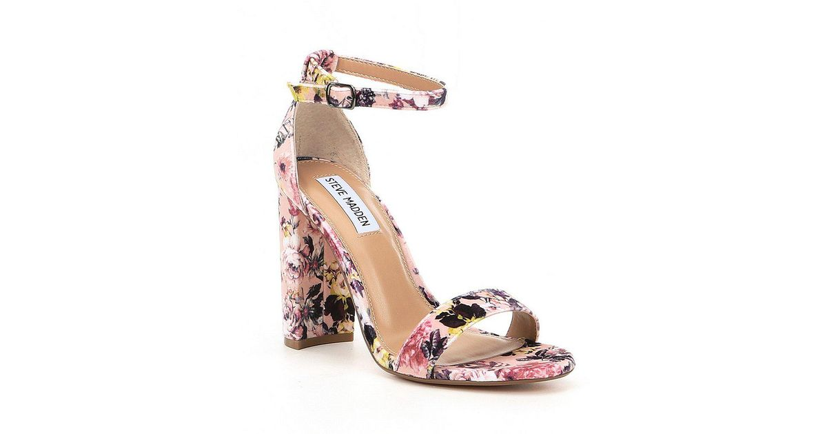 87b4aff84ffd Lyst - Steve Madden Carrson Floral Velvet Ankle Strap Block Heel Dress  Sandals in Pink