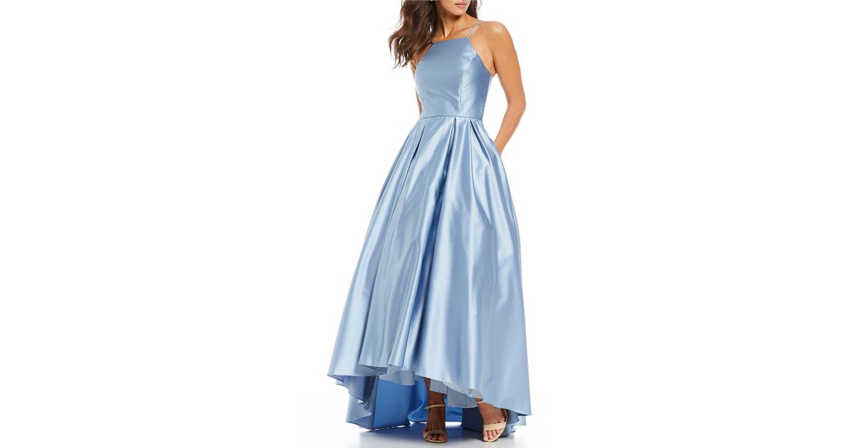 e8dc5d5dd71 Betsy   Adam Halter Hi Lo Satin Ball Gown in Blue - Lyst