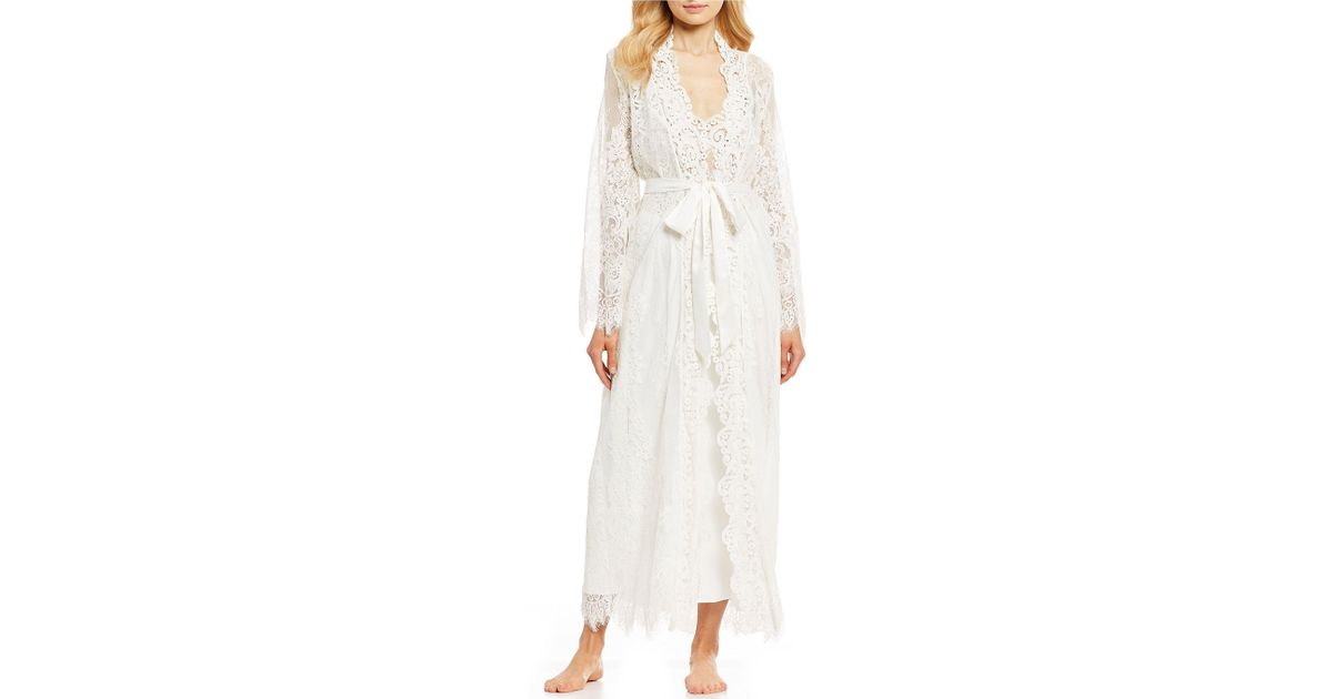 365ffac6f Lyst - Jonquil Jasmine Chiffon   Corded Lace Long Wrap Robe in White