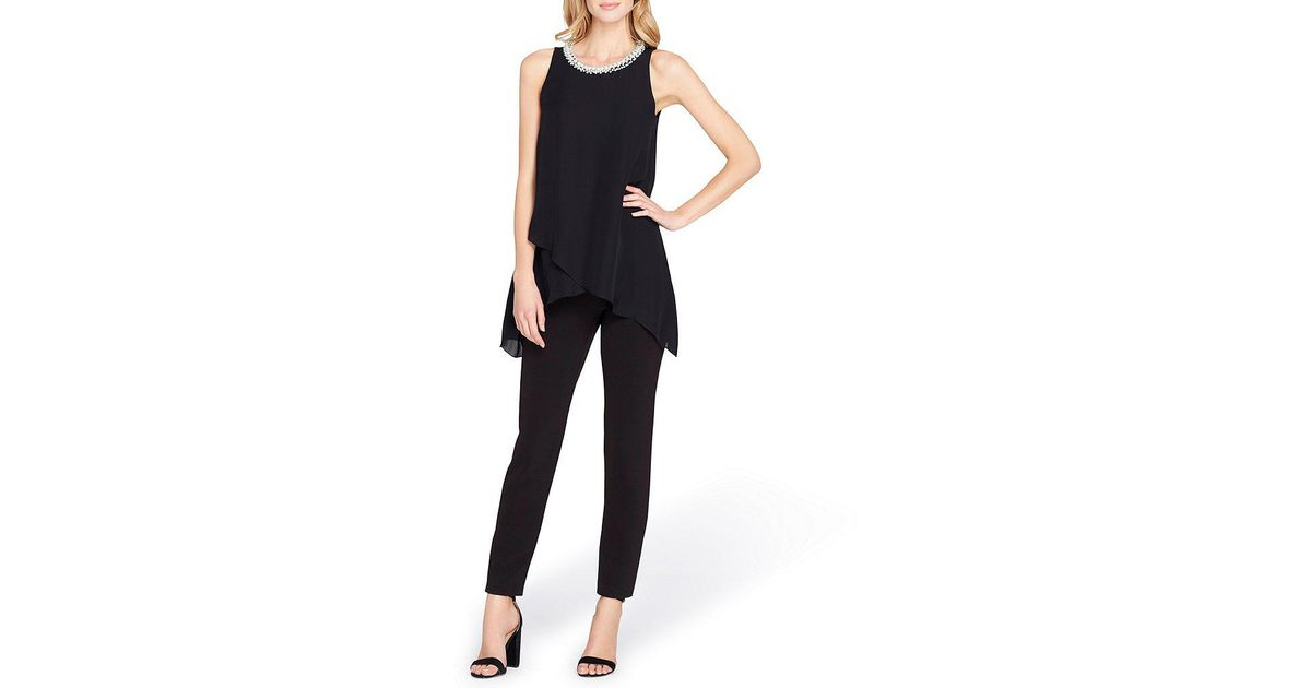 c0e3fd7ec9ec Lyst - Tahari Petite Beaded-neck Popover Straight-leg Jumpsuit in Black