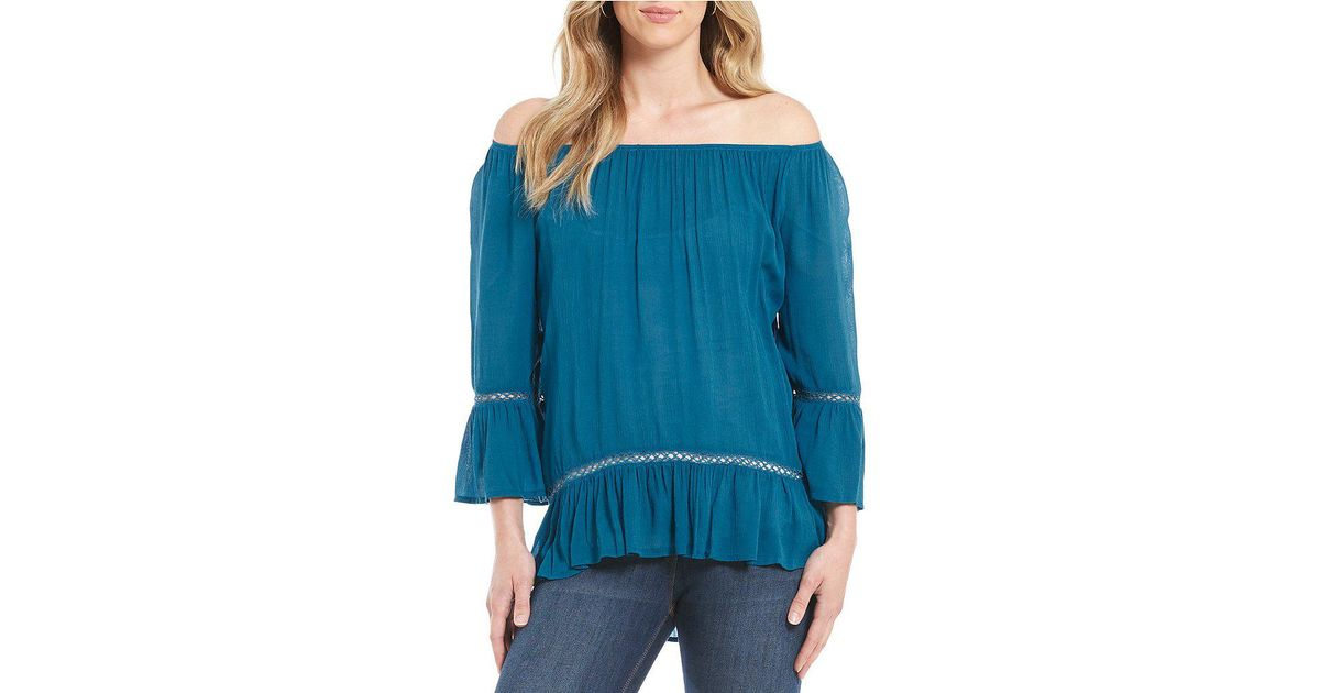 cafee4b3491e7 Lyst - Fever Off The Shoulder Bell Sleeve Blouse in Blue