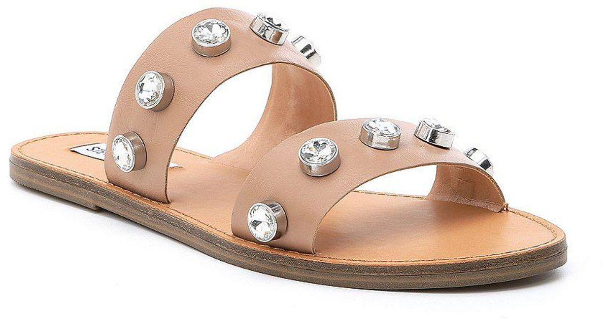 Steve Madden Jessy Leather Jewel Sandals TY8M15p2bE
