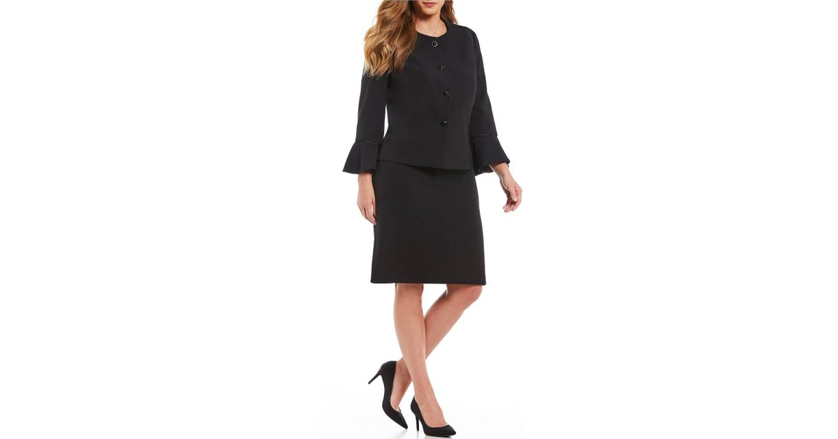 eb68b97565 Lyst - Tahari Plus Size Stretch Crepe Snap-front Bell Sleeve Jacket 2-piece  Skirt Suit in Black