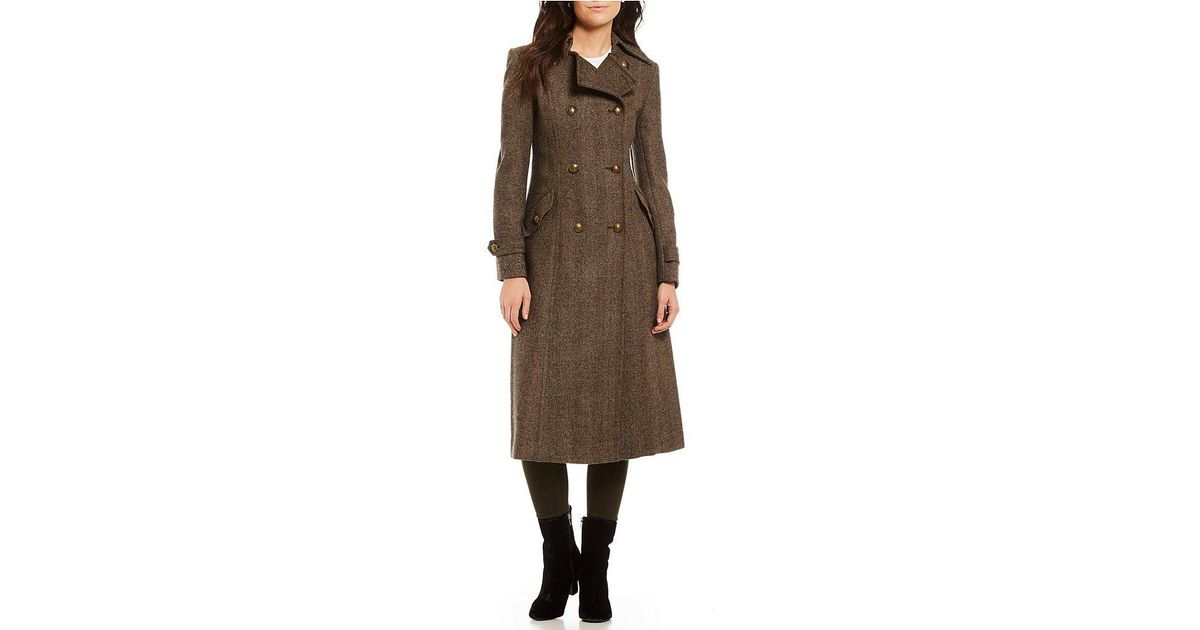 5be82b5949f3a Lyst - Lauren by Ralph Lauren Wool Double Breasted Herringbone Walker  Military Coat in Natural