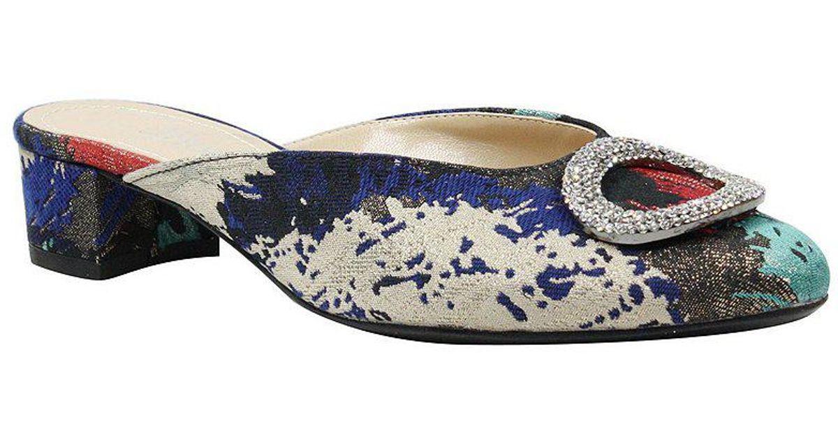 J. Renee Melosa Splatter Fabric Rhinestone Embellished Dress Mules VnLUgJ