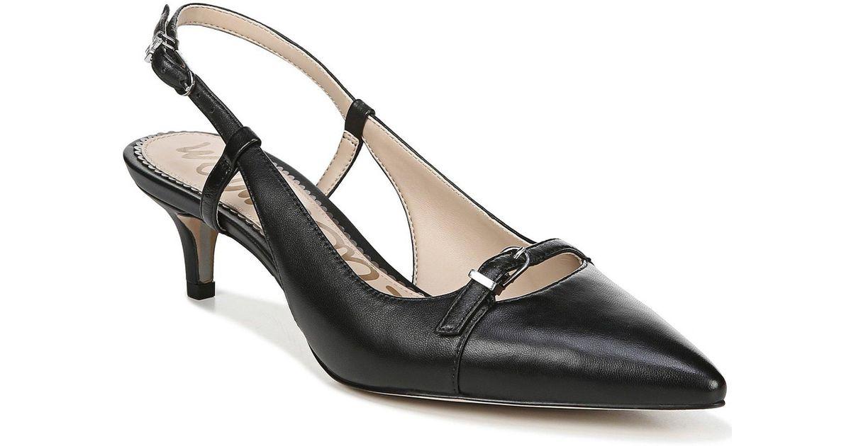 c1291d3bfd1 Sam Edelman - Black Denia Leather Slingback Pumps - Lyst
