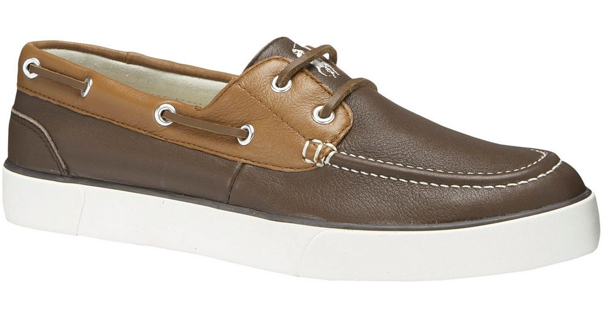 polo ralph sander leather boat shoes in brown for