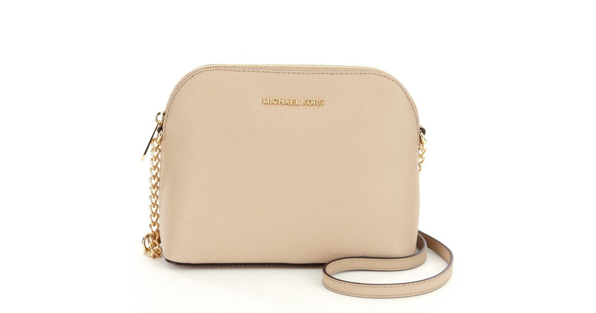 Lyst Michael Kors Cindy Large Dome Chain Strap Cross Body Bag In Natural