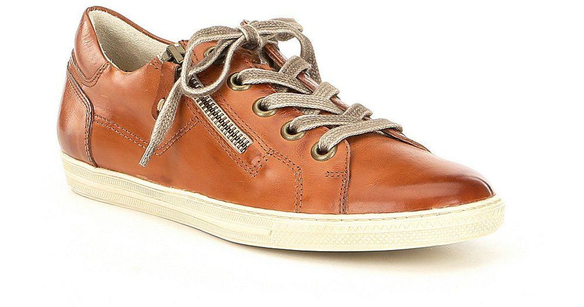 Paul Green Frannie Leather Side Zip Lace-Up Sneakers 57UU5NC