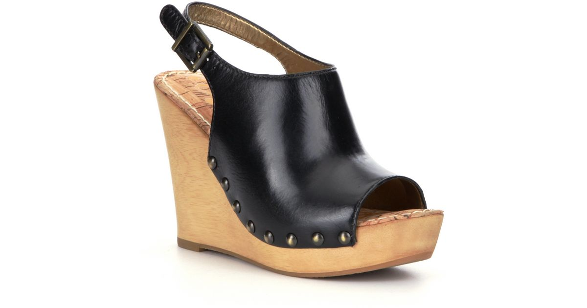 sam edelman camilla wedge sandals in black lyst