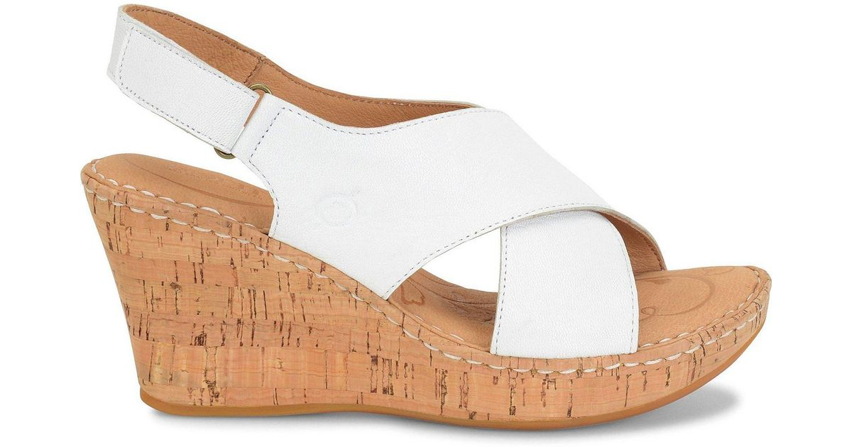 Born Henning Leather Criss Cross Slingback Cork Wedge
