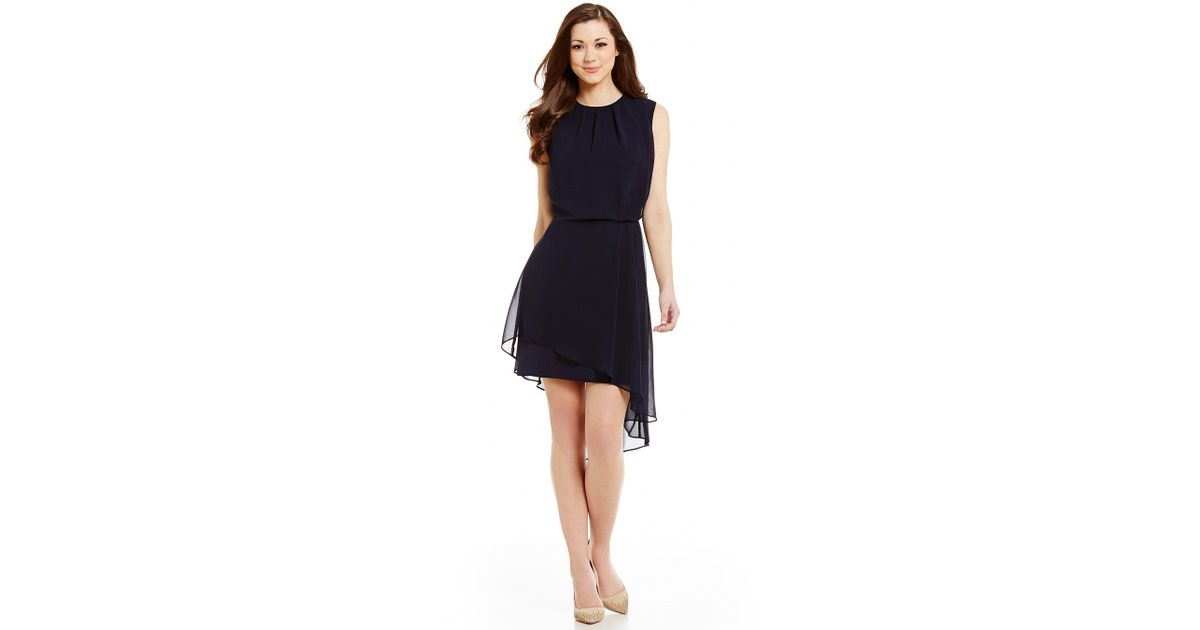 2aac81eb389 Antonio Melani Mason Crew Neck Sleeveless Crepe   Chiffon Dress in Blue -  Lyst
