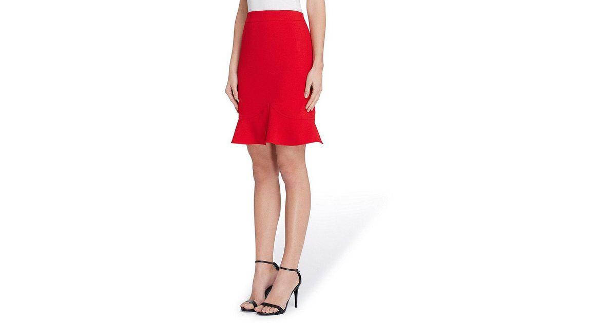 b9b09af3fb2 Lyst - Tahari Petite Crepe Short Sleeve Skirt Suit in Red