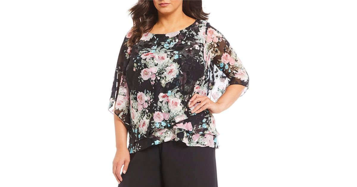 cfe420abf58c49 Lyst - Alex Evenings Plus Size 3 4 Illusion Sleeve Asymmetric Tiered Blouse  in Black
