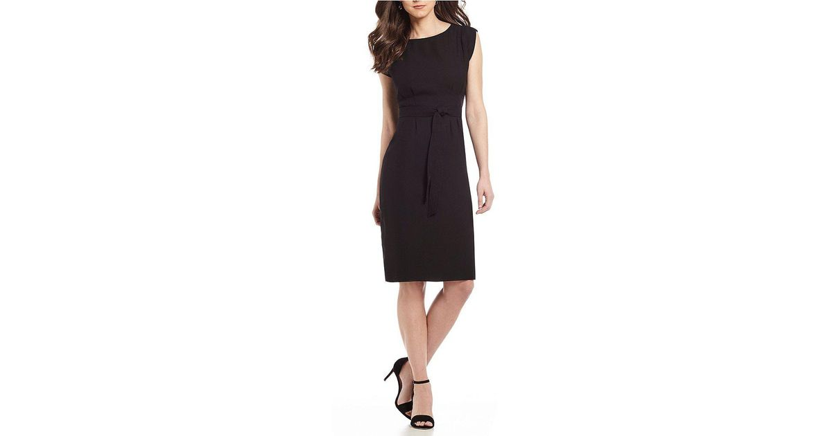 da1909c999b07 Lyst Antonio Melani Adela Tie Waist Crepe Dress In Black