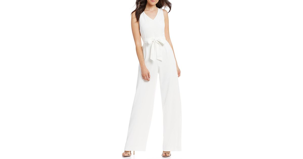 27945c4f69ae Lyst - Cece Moss Crepe Wide-leg Jumpsuit in White