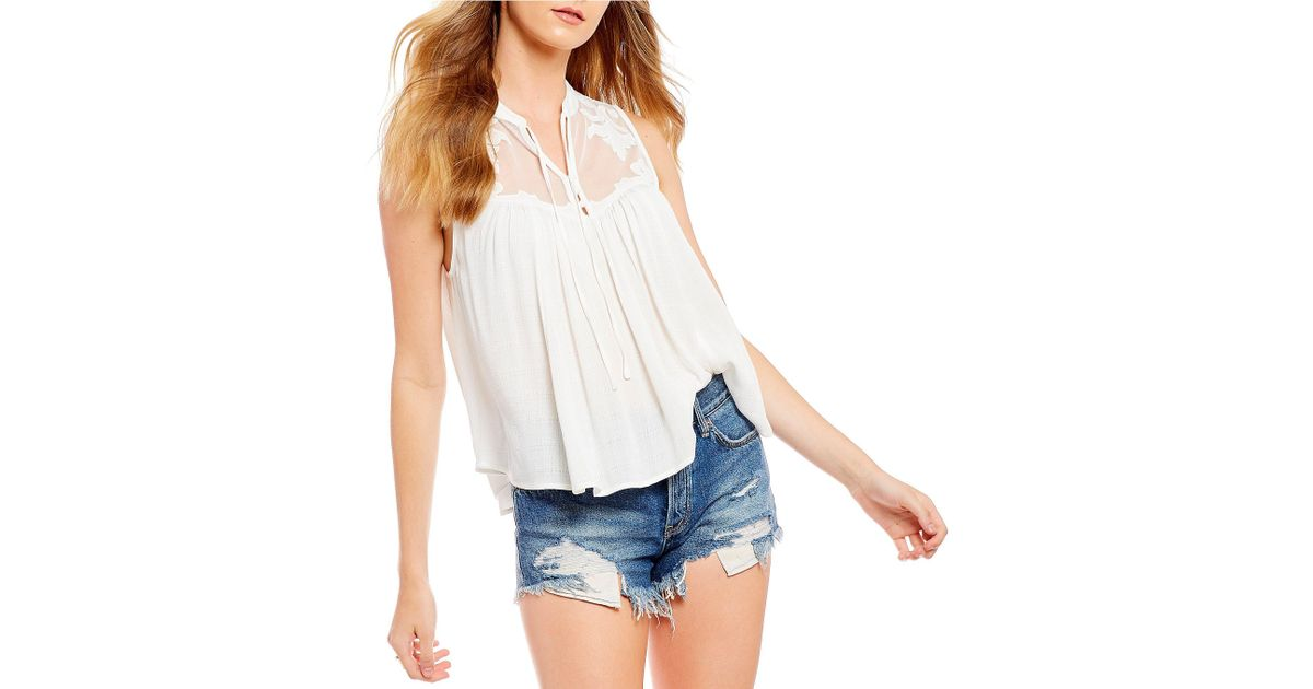 Lyst free people western romance mesh applique western top in white