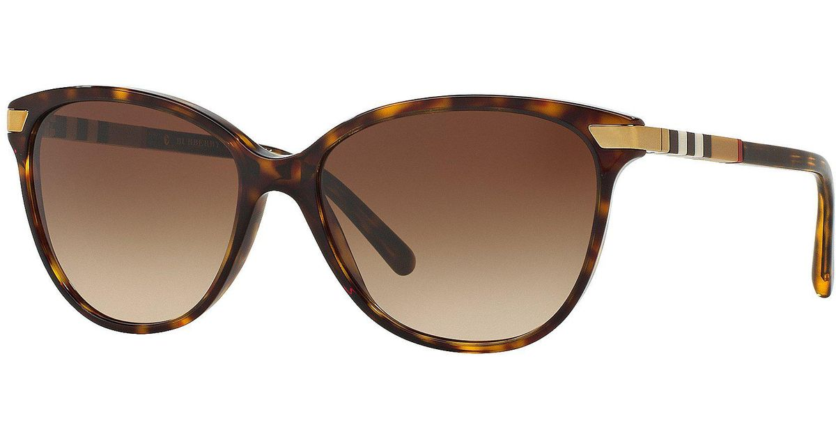 d00adb0111d0 Lyst - Burberry Heritage Color Block Square Check Cat Eye Sunglasses in  Brown
