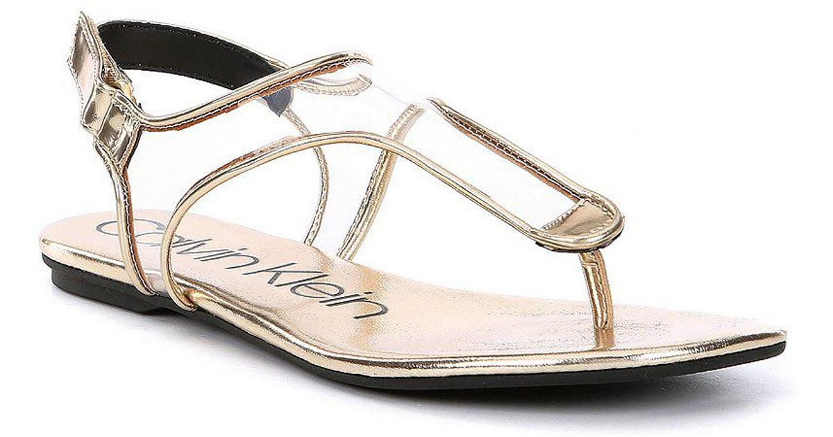 Calvin Klein Shilo Transparent Metallic Lined Sandals nZchm56Ph