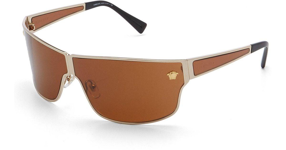 9652ccb15a Versace Men s Medusa Aspis Sunglasses in Metallic for Men - Lyst