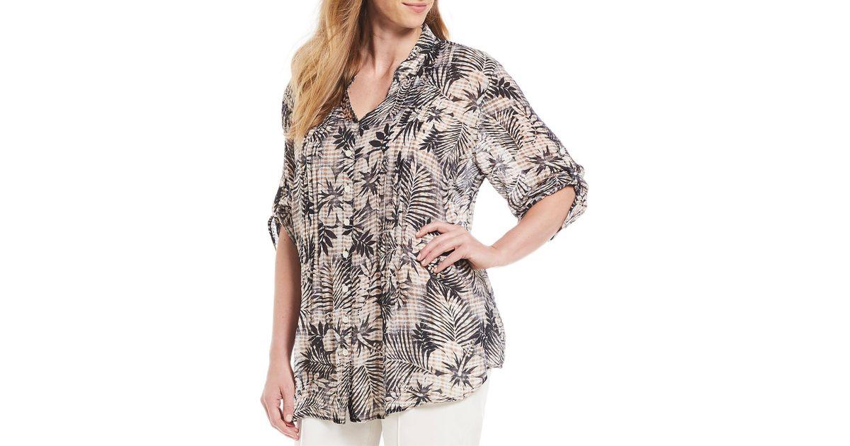 d508722e14b Lyst - Ruby Rd. Plus Size Roll-tab Sleeve Hibiscus Tie Dye Print Light  Weight Gauze Top