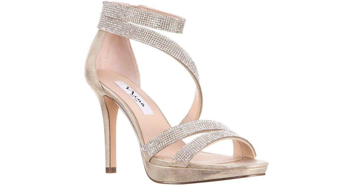 eba35b7ef0031 Lyst - Nina Alissa Metallic Suede Rhinestone Detail Strappy Dress Sandals