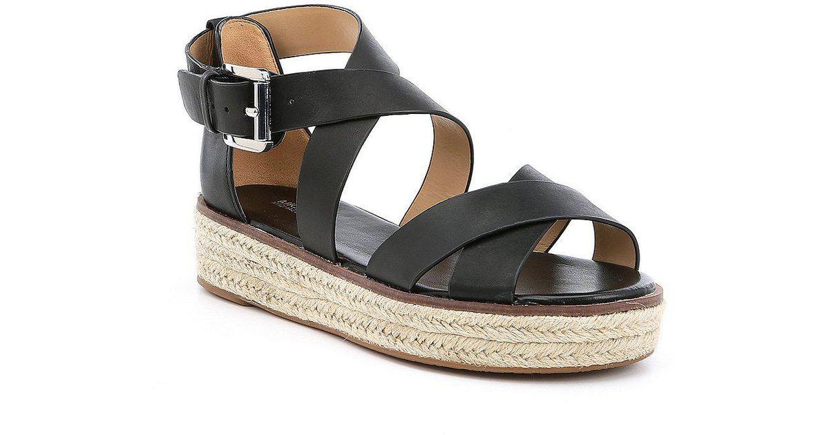 cd0187d3282a Lyst - MICHAEL Michael Kors Darby Vachetta Leather Flatform Espadrille  Sandals