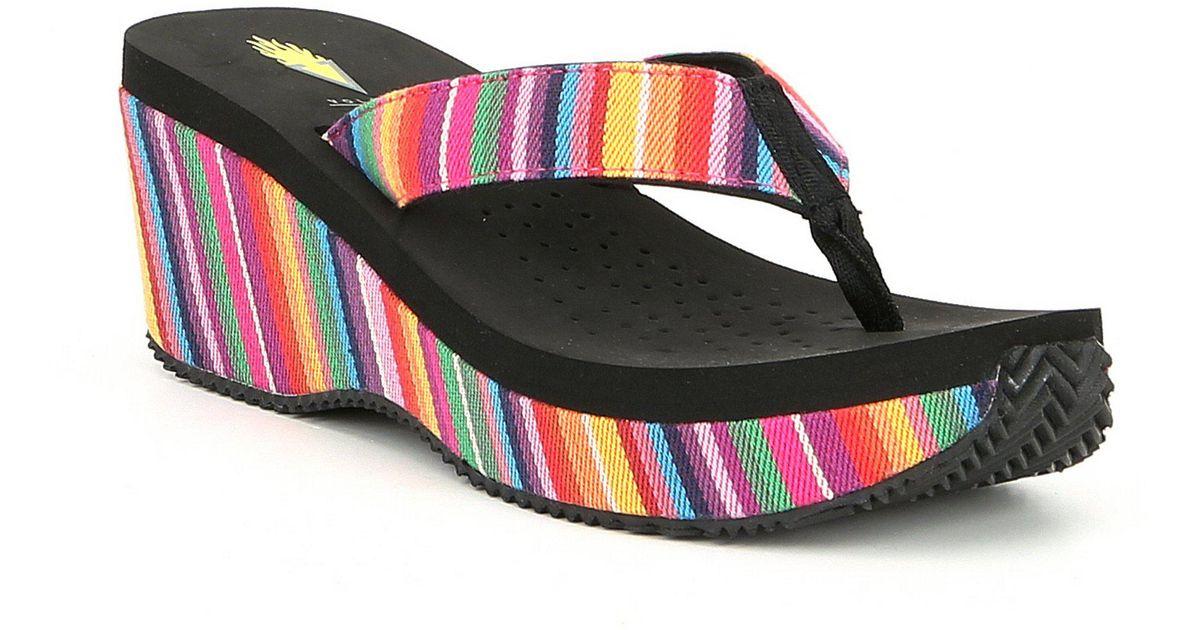 458e0adb89 Volatile Beloved Serpe Stripe Wedge Sandals - Lyst