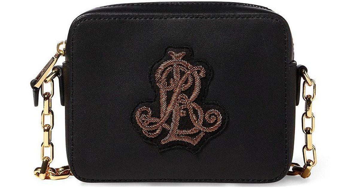 fdca7ee571 Lyst - Lauren by Ralph Lauren Payton Crest Cross-body Bag in Black
