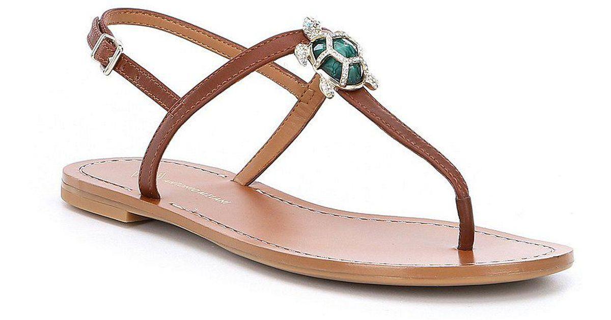 7d5e9496fd7e Lyst - Antonio Melani Tulias Jewel Turtle Ornament Thong Sandals in Brown