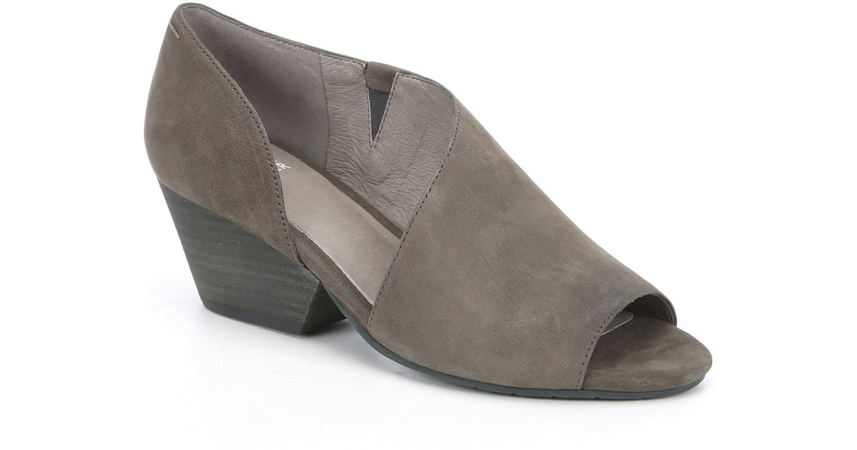 647ad4259d3 Eileen Fisher - Gray Fig Open Side Nubuck Slip On Block Heel Shoes - Lyst