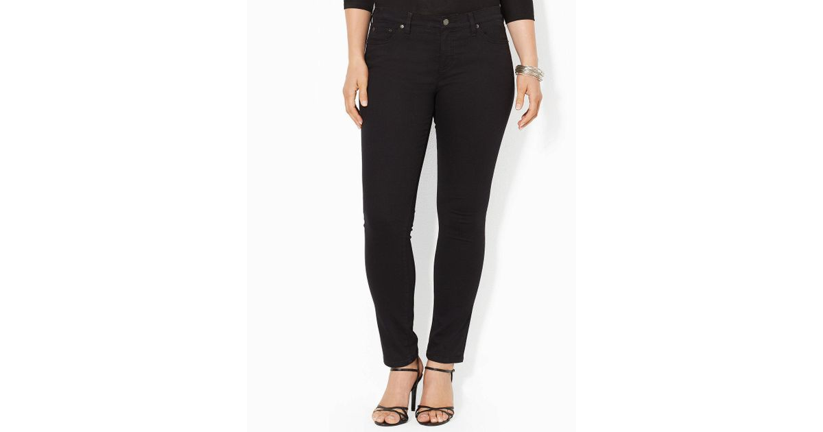 48f6ab59a11 Lyst - Lauren by Ralph Lauren Plus Super-stretch Slimming Modern Skinny  Jeans in Black