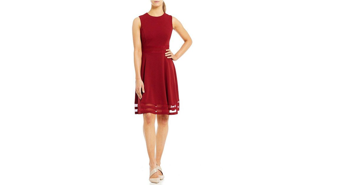 221ae139 Calvin Klein Illusion Hem Fit-and-flare Dress in Red - Lyst